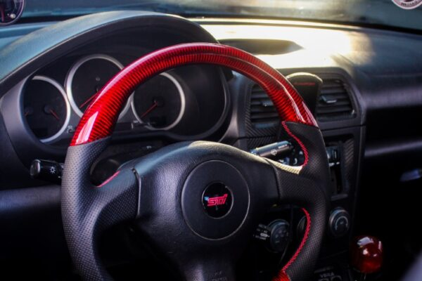 Galaxy Customs - 2006 STi - Gloss Red Carbon Fiber - Perforated Leather - Red Stitching 2