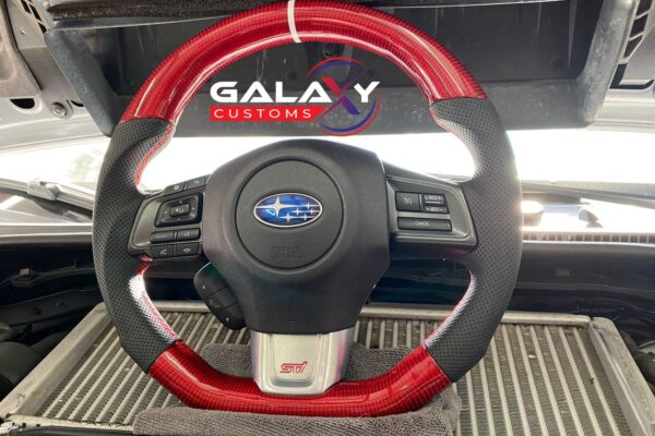 Galaxy Customs - 2015 and Up Subaru STi - Gloss Red Carbon Fiber and Black Leather