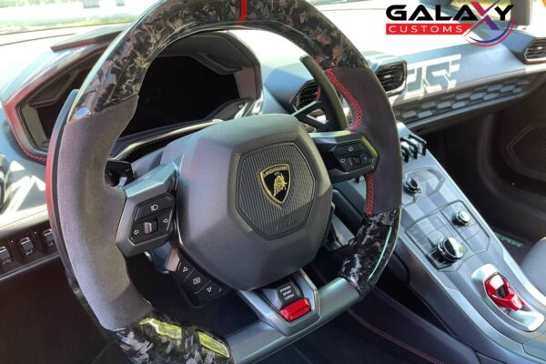 Galaxy Customs - 2015 Up Huracan - Forged Carbon - Black Alcantara - Red Stitching - Flat Top & Bottom - Installed